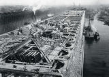 Aerial view of construction on the Soo Line ore dock in Ashland, Wisconsin