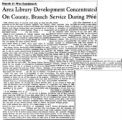 Area Library Service Concentrated on County, Branch Service During 1966