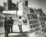 Joseph Schlitz Brewery Co workers picket with signs