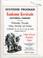 Souvenir Program Kaukauna Kavalcade Historical Pageant, 1940