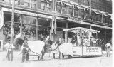 L. Rosenheimer parade float in front of L. Rosenheimer store, Kewaskum, Wisconsin, 1912