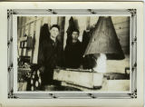 Ed Drab and Herb Schmoll at a metal forge, CCC Camp 657, 1933-1937