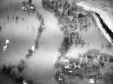 Aerial view of a flooded Milwaukee River