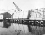 Construction of the Milwaukee breakwater at Jones Island