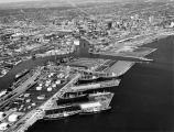 Aerial view of Milwaukee Harbor looking northwest