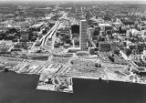 Aerial view of Milwaukee and inner harbor