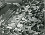 Aerial view of downtown Oconto Falls (Wis.) in 1970