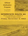 Highway Dedication Programs - Interstate 90 - Madison to Janesville, November 2, 1962