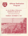Highway Dedication Programs - Interstate 94 - Eau Claire to Black River Falls - November 9, 1967