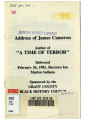 "Address of James Cameron Author of """"A Time of Terror"""" Delivered February..."