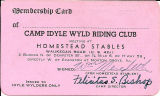 Camp Idyle Wyld Riding Club Membership Card