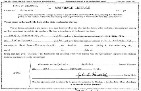 Marriage License Dewey A Hottenstine Jr To Evelyn Hermsen 1942 Kaukauna Memory Project Collections Hosted By The Milwaukee Public Library,Trust Me Tabouli Recipe
