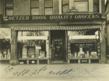 Exterior view of Retzer Bros. grocery store