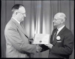 Apprentice Banquet May 19th 1955 Anthony John King (R) receiving Civic Award from President William F. Rasche